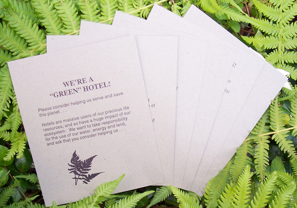 Green Hotels Association Printed Cards